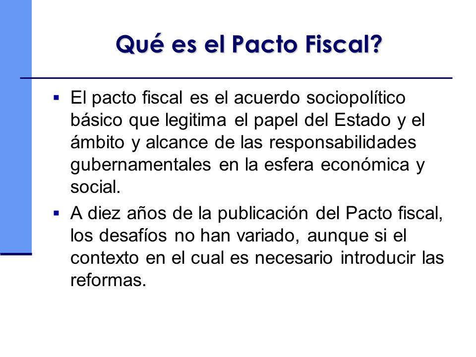 Qué es el Pacto Fiscal? El pacto fiscal es el acuerdo sociopolítico básico que legitima el papel del Estado y el ámbito y alcance de las responsabilid