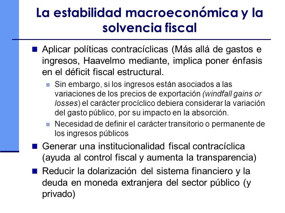 La estabilidad macroeconómica y la solvencia fiscal Aplicar políticas contracíclicas (Más allá de gastos e ingresos, Haavelmo mediante, implica poner