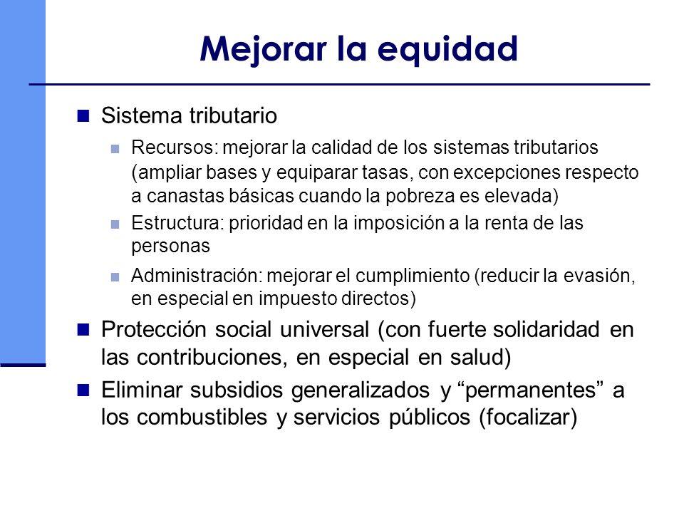Mejorar la equidad Sistema tributario Recursos: mejorar la calidad de los sistemas tributarios ( ampliar bases y equiparar tasas, con excepciones respecto a canastas básicas cuando la pobreza es elevada) Estructura: prioridad en la imposición a la renta de las personas Administración: mejorar el cumplimiento (reducir la evasión, en especial en impuesto directos) Protección social universal (con fuerte solidaridad en las contribuciones, en especial en salud) Eliminar subsidios generalizados y permanentes a los combustibles y servicios públicos (focalizar)