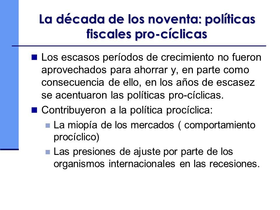 La década de los noventa: políticas fiscales pro-cíclicas Los escasos períodos de crecimiento no fueron aprovechados para ahorrar y, en parte como consecuencia de ello, en los años de escasez se acentuaron las políticas pro-cíclicas.
