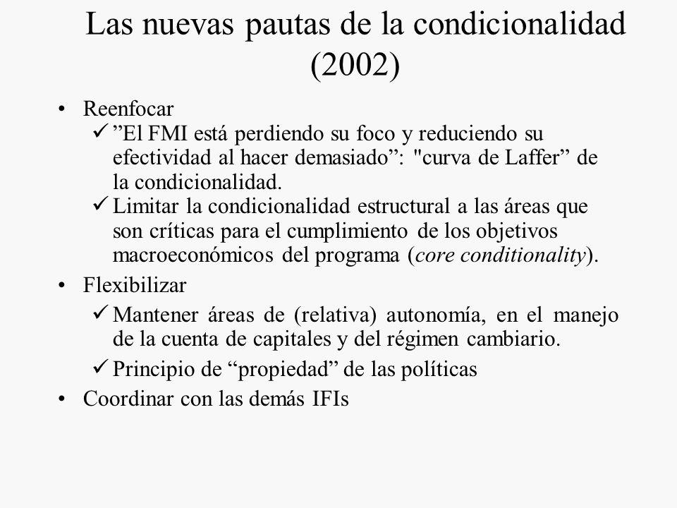Qué es la condicionalidad? el crédito del FMI es condicional a la adopción de políticas apropiadas para resolver las dificultades de financiamiento de