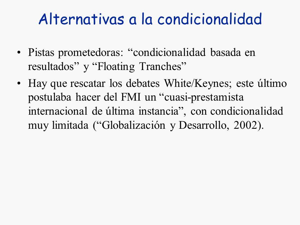 Alternativas a la condicionalidad El informe Meltzer (2000) –La condicionalidad es de difícil manejo, altamente conflictiva, demorosa en su negociació