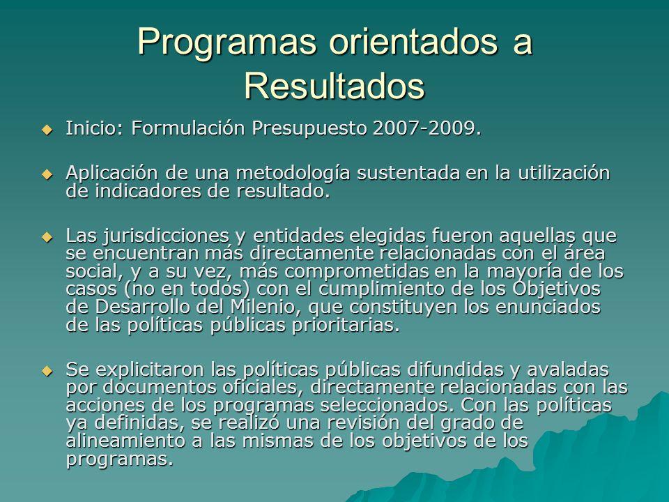 Programas orientados a Resultados Inicio: Formulación Presupuesto 2007-2009.