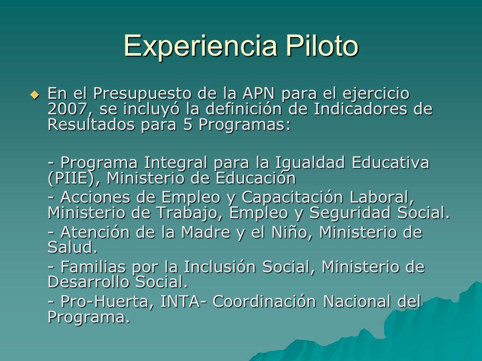 Experiencia Piloto En el Presupuesto de la APN para el ejercicio 2007, se incluyó la definición de Indicadores de Resultados para 5 Programas: En el Presupuesto de la APN para el ejercicio 2007, se incluyó la definición de Indicadores de Resultados para 5 Programas: - Programa Integral para la Igualdad Educativa (PIIE), Ministerio de Educación - Acciones de Empleo y Capacitación Laboral, Ministerio de Trabajo, Empleo y Seguridad Social.