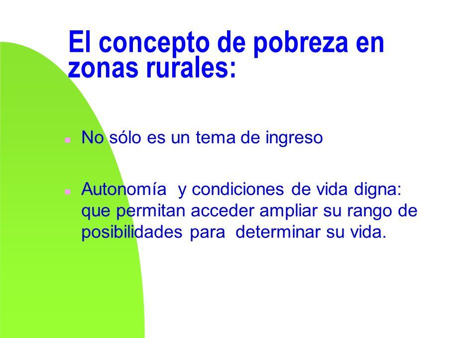 El concepto de pobreza en zonas rurales: n No sólo es un tema de ingreso n Autonomía y condiciones de vida digna: que permitan acceder ampliar su rang