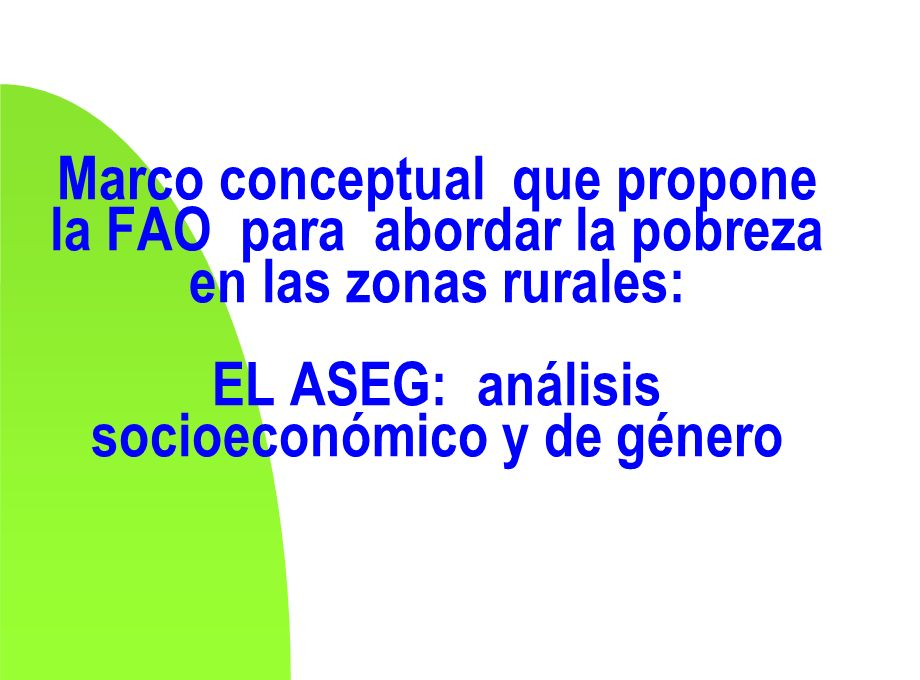 Marco conceptual que propone la FAO para abordar la pobreza en las zonas rurales: EL ASEG: análisis socioeconómico y de género