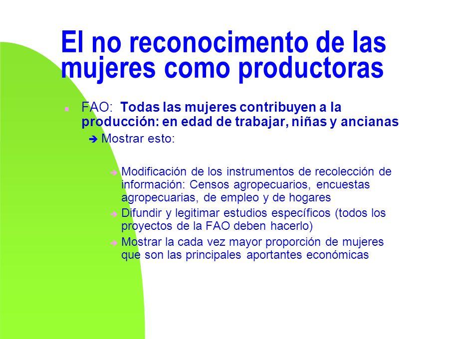 El no reconocimento de las mujeres como productoras n FAO: Todas las mujeres contribuyen a la producción: en edad de trabajar, niñas y ancianas Mostra