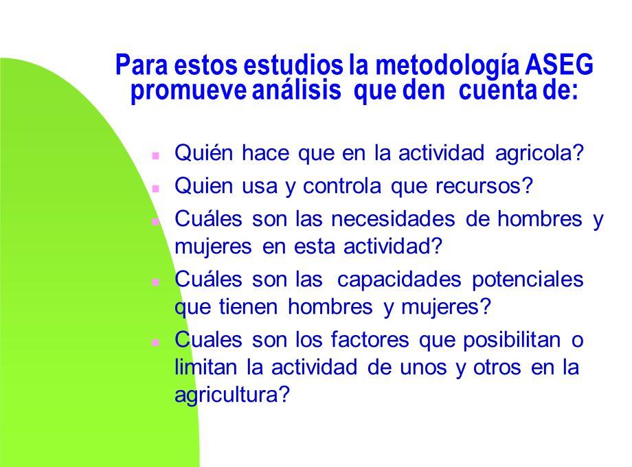 Para estos estudios la metodología ASEG promueve análisis que den cuenta de: n Quién hace que en la actividad agricola? n Quien usa y controla que rec
