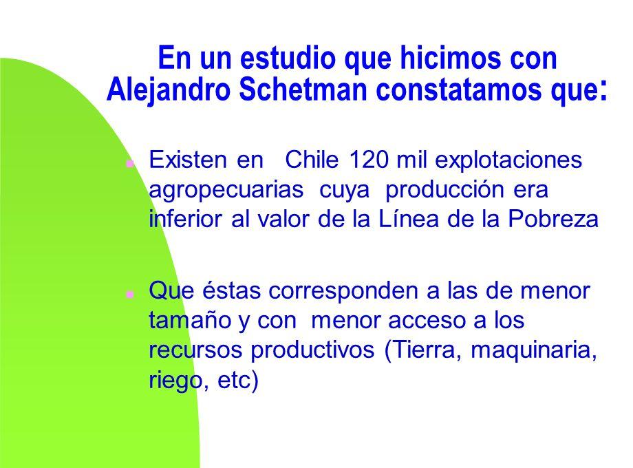 En un estudio que hicimos con Alejandro Schetman constatamos que : n Existen en Chile 120 mil explotaciones agropecuarias cuya producción era inferior