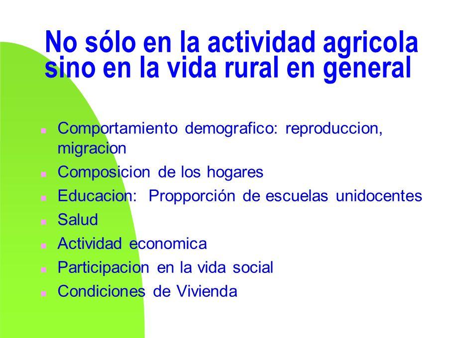 No sólo en la actividad agricola sino en la vida rural en general n Comportamiento demografico: reproduccion, migracion n Composicion de los hogares n