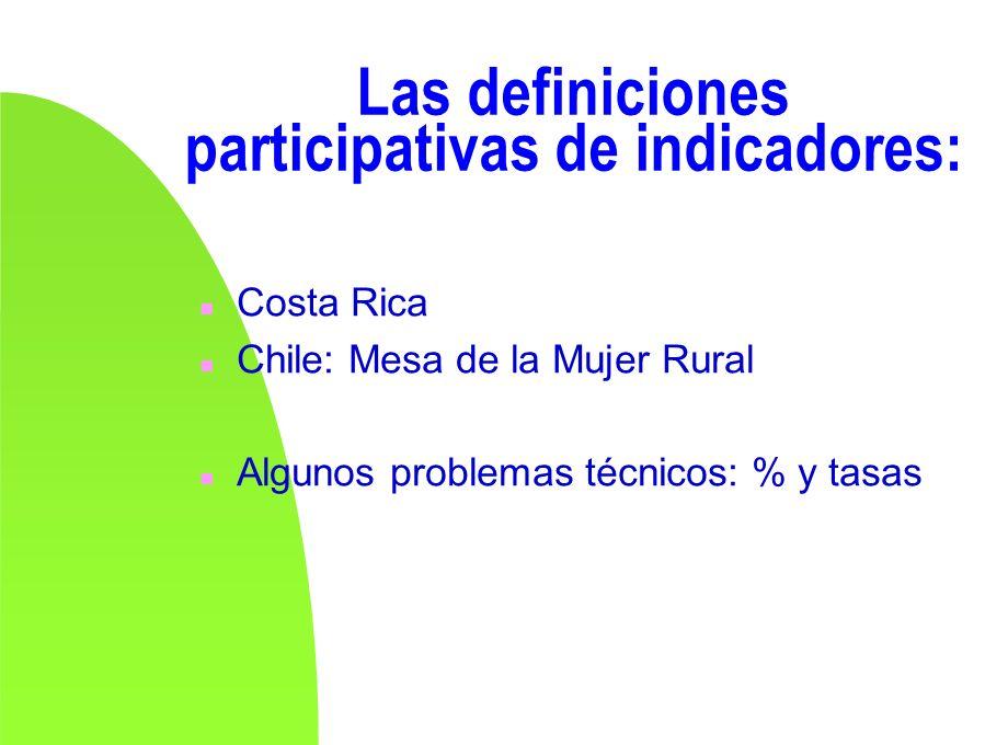 Las definiciones participativas de indicadores: n Costa Rica n Chile: Mesa de la Mujer Rural n Algunos problemas técnicos: % y tasas