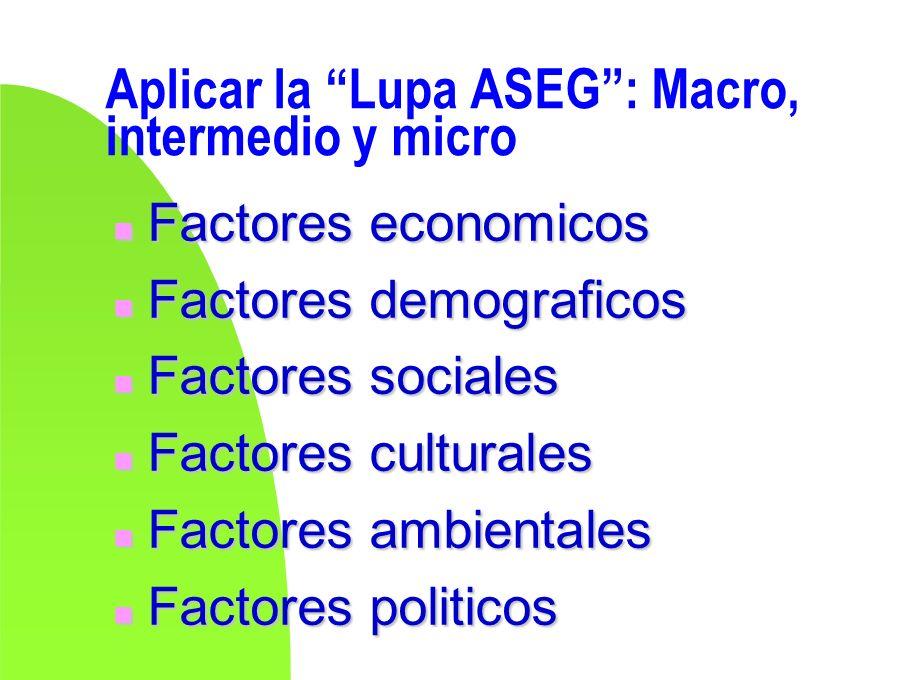 Aplicar la Lupa ASEG: Macro, intermedio y micro n Factores economicos n Factores demograficos n Factores sociales n Factores culturales n Factores amb