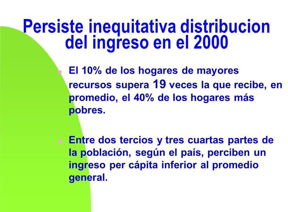 Persiste inequitativa distribucion del ingreso en el 2000 n El 10% de los hogares de mayores recursos supera 19 veces la que recibe, en promedio, el 4