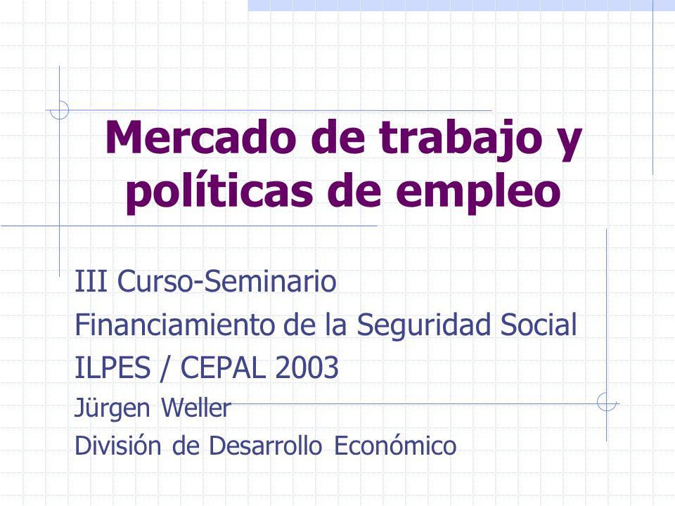 Mercado de trabajo y políticas de empleo III Curso-Seminario Financiamiento de la Seguridad Social ILPES / CEPAL 2003 Jürgen Weller División de Desarrollo Económico