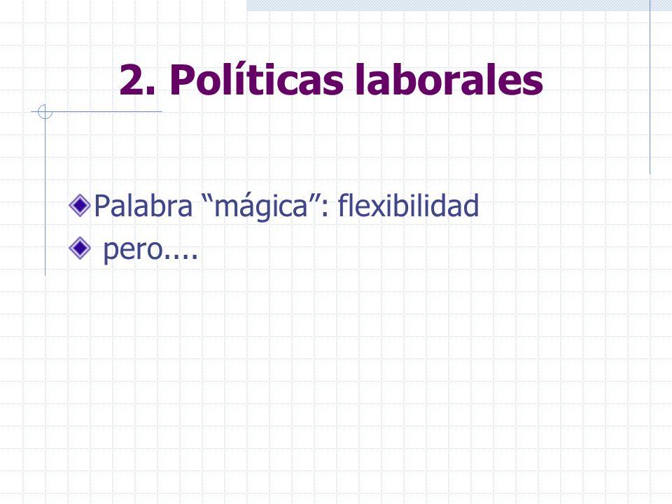 2. Políticas laborales Palabra mágica: flexibilidad pero....