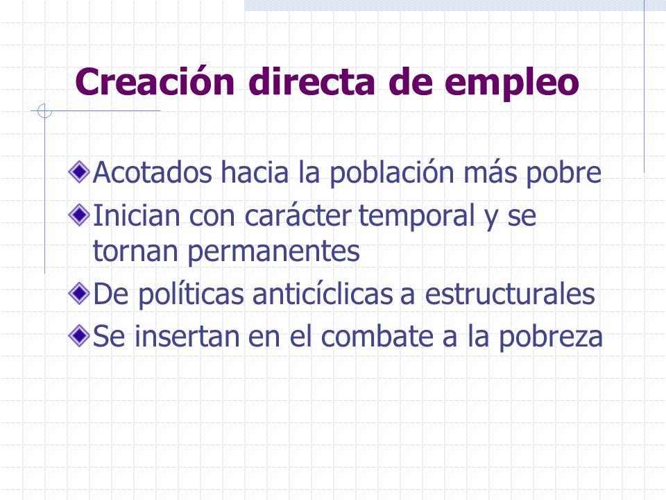 Creación directa de empleo Acotados hacia la población más pobre Inician con carácter temporal y se tornan permanentes De políticas anticíclicas a estructurales Se insertan en el combate a la pobreza