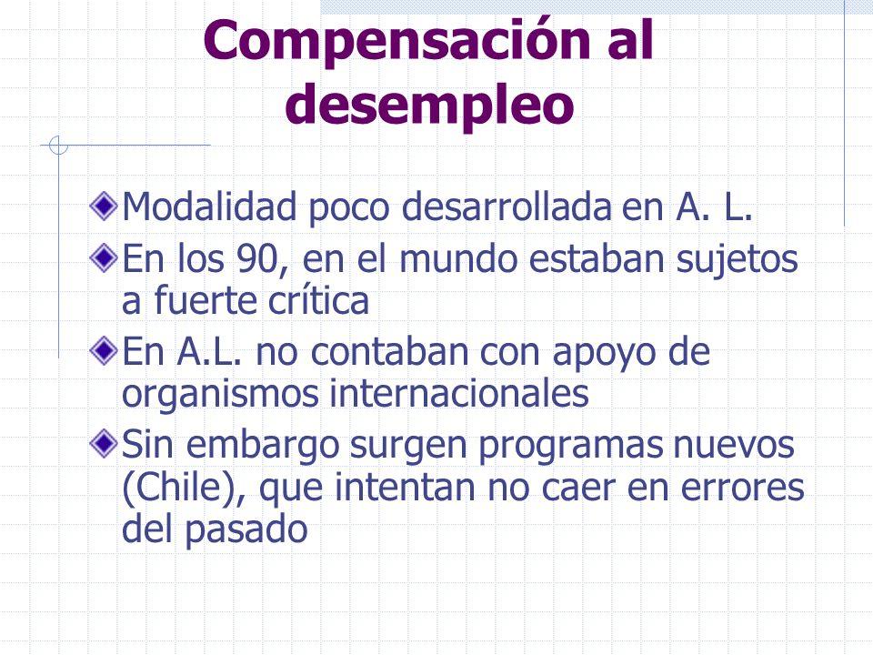 Compensación al desempleo Modalidad poco desarrollada en A.