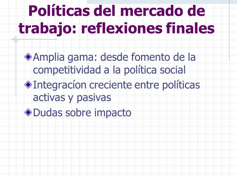 Políticas del mercado de trabajo: reflexiones finales Amplia gama: desde fomento de la competitividad a la política social Integracíon creciente entre políticas activas y pasivas Dudas sobre impacto