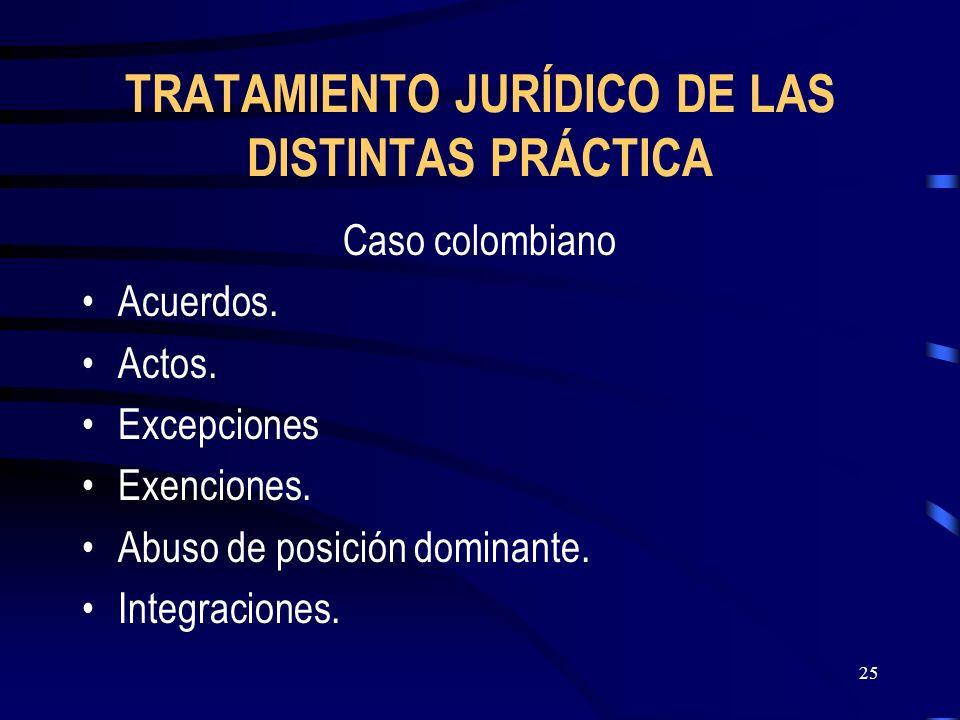 25 TRATAMIENTO JURÍDICO DE LAS DISTINTAS PRÁCTICA Caso colombiano Acuerdos. Actos. Excepciones Exenciones. Abuso de posición dominante. Integraciones.