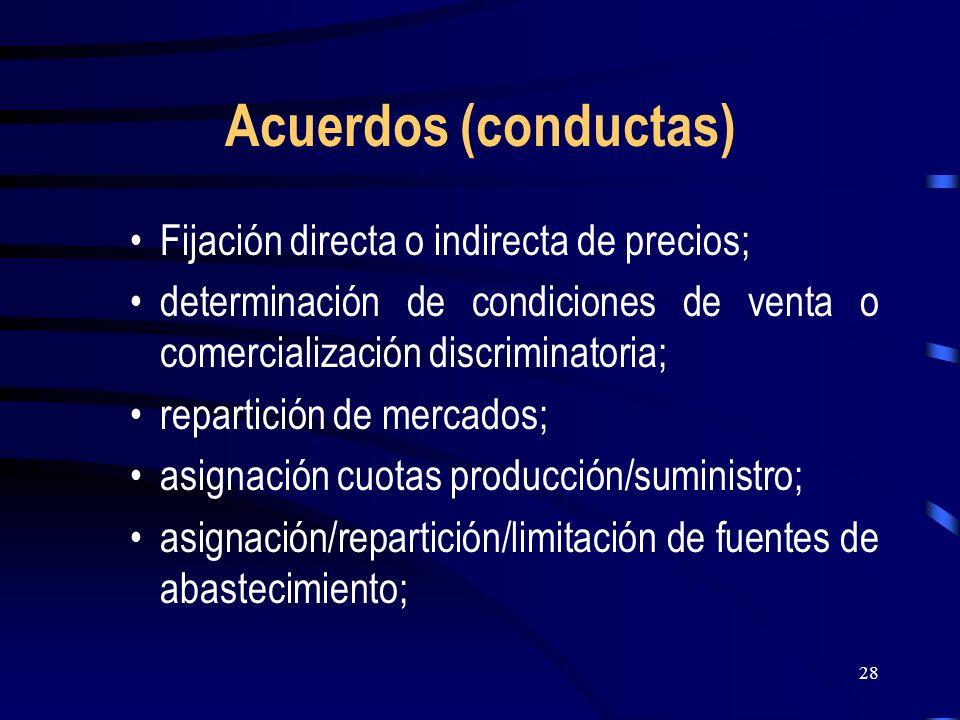 28 Acuerdos (conductas) Fijación directa o indirecta de precios; determinación de condiciones de venta o comercialización discriminatoria; repartición