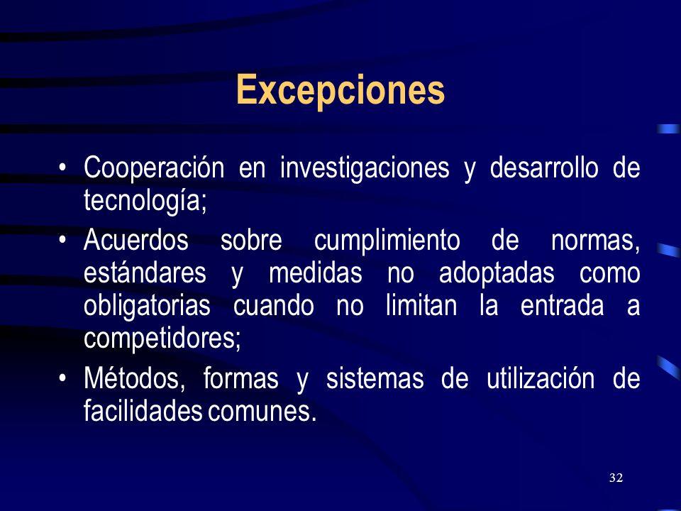 32 Excepciones Cooperación en investigaciones y desarrollo de tecnología; Acuerdos sobre cumplimiento de normas, estándares y medidas no adoptadas com