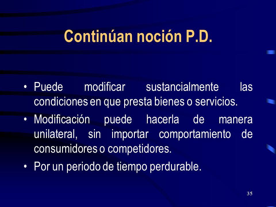 35 Continúan noción P.D. Puede modificar sustancialmente las condiciones en que presta bienes o servicios. Modificación puede hacerla de manera unilat