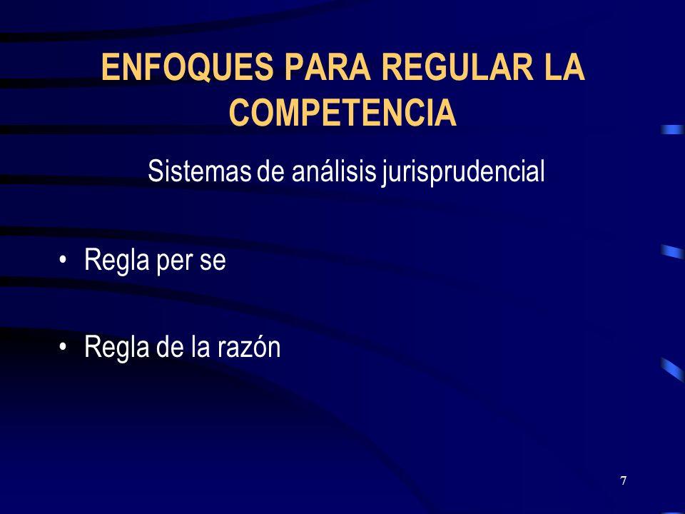 7 ENFOQUES PARA REGULAR LA COMPETENCIA Sistemas de análisis jurisprudencial Regla per se Regla de la razón