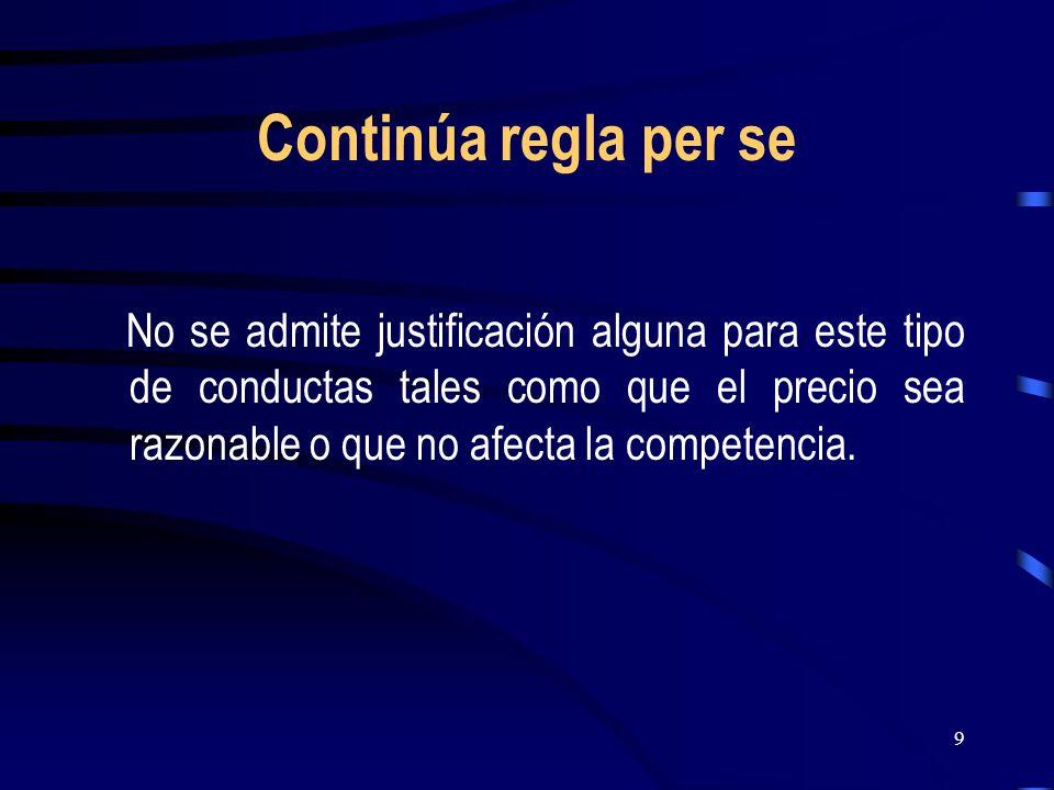 9 Continúa regla per se No se admite justificación alguna para este tipo de conductas tales como que el precio sea razonable o que no afecta la compet