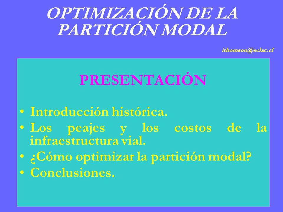 OPTIMIZACIÓN DE LA PARTICIÓN MODAL ithomson@eclac.cl PRESENTACIÓN Introducción histórica.