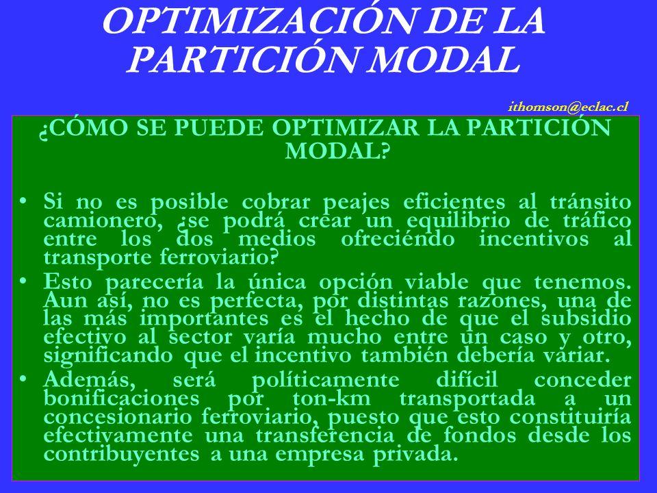 OPTIMIZACIÓN DE LA PARTICIÓN MODAL ithomson@eclac.cl ¿CÓMO SE PUEDE OPTIMIZAR LA PARTICIÓN MODAL.