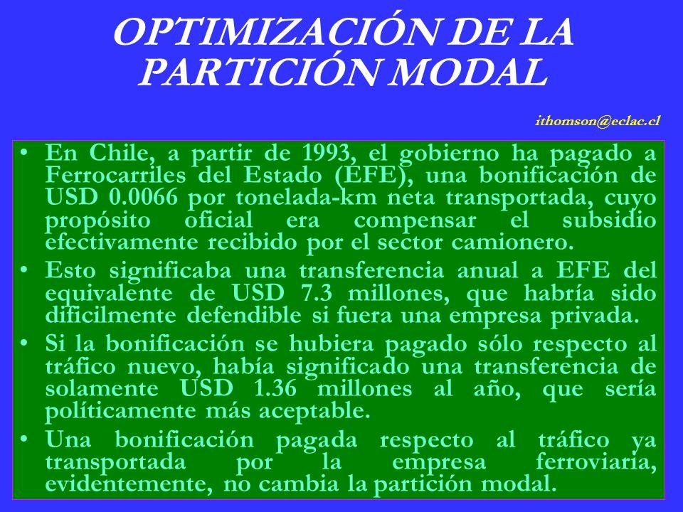 OPTIMIZACIÓN DE LA PARTICIÓN MODAL ithomson@eclac.cl En Chile, a partir de 1993, el gobierno ha pagado a Ferrocarriles del Estado (EFE), una bonificación de USD 0.0066 por tonelada-km neta transportada, cuyo propósito oficial era compensar el subsidio efectivamente recibido por el sector camionero.