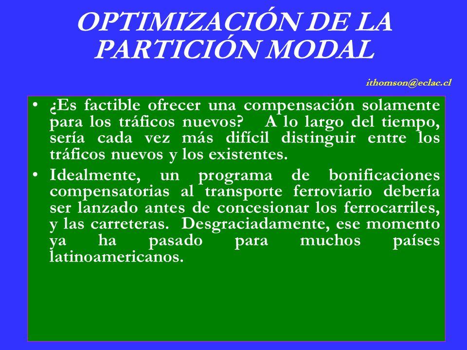 OPTIMIZACIÓN DE LA PARTICIÓN MODAL ithomson@eclac.cl ¿Es factible ofrecer una compensación solamente para los tráficos nuevos.