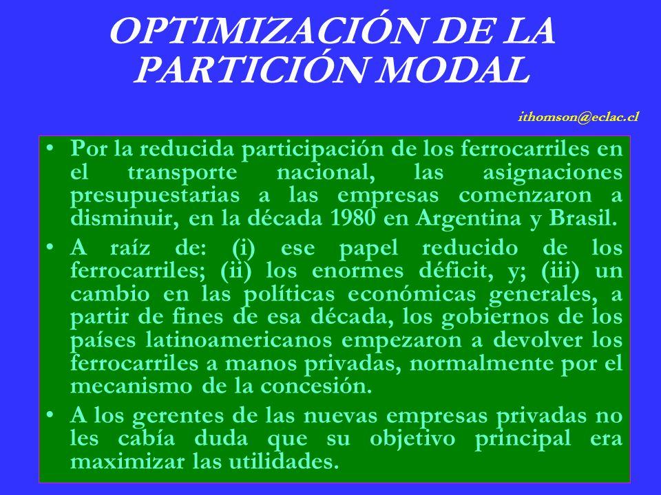 OPTIMIZACIÓN DE LA PARTICIÓN MODAL ithomson@eclac.cl Por la reducida participación de los ferrocarriles en el transporte nacional, las asignaciones presupuestarias a las empresas comenzaron a disminuir, en la década 1980 en Argentina y Brasil.
