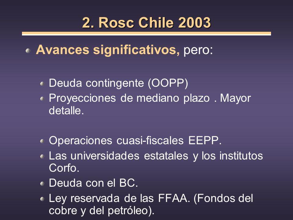 2. Rosc Chile 2003 Avances significativos, pero: Deuda contingente (OOPP) Proyecciones de mediano plazo. Mayor detalle. Operaciones cuasi-fiscales EEP