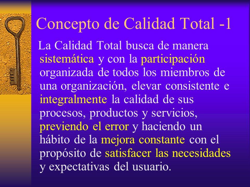 Concepto de Calidad Total -1 La Calidad Total busca de manera sistemática y con la participación organizada de todos los miembros de una organización,