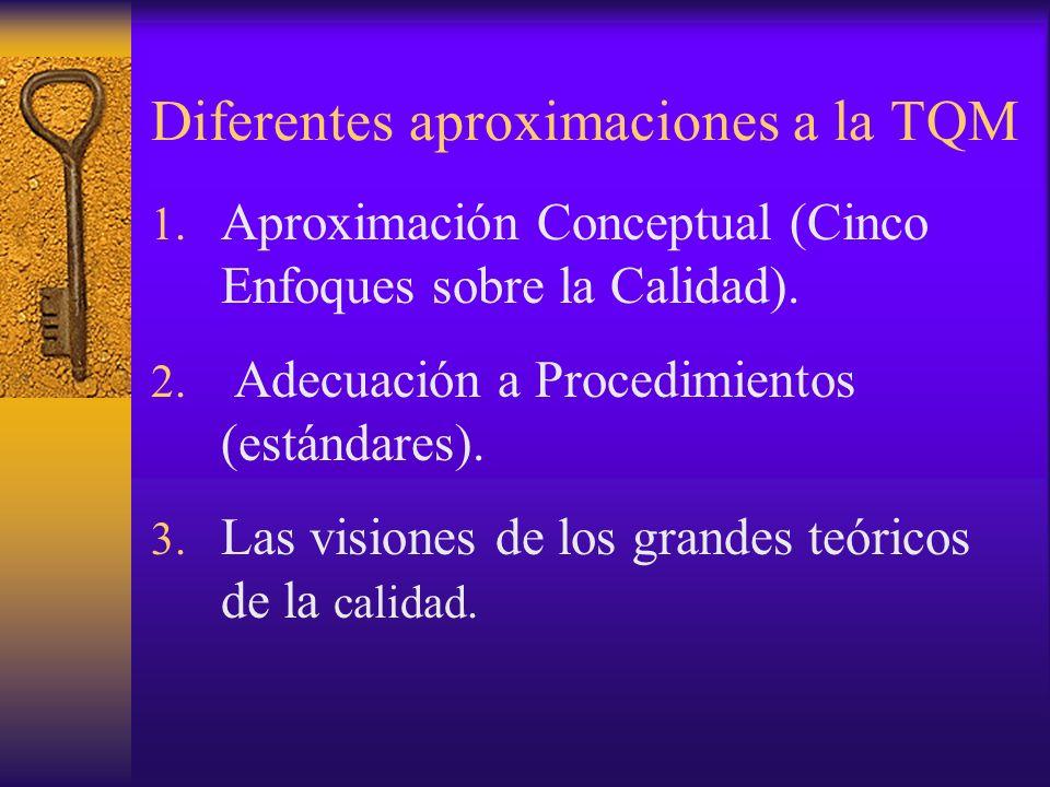Diferentes aproximaciones a la TQM 1. Aproximación Conceptual (Cinco Enfoques sobre la Calidad). 2. Adecuación a Procedimientos (estándares). 3. Las v