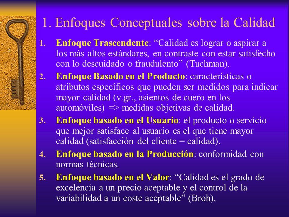 1. Enfoques Conceptuales sobre la Calidad 1. Enfoque Trascendente: Calidad es lograr o aspirar a los más altos estándares, en contraste con estar sati