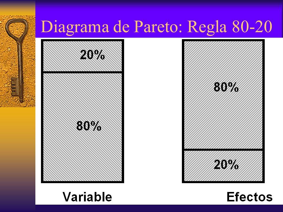 Diagrama de Pareto: Regla 80-20