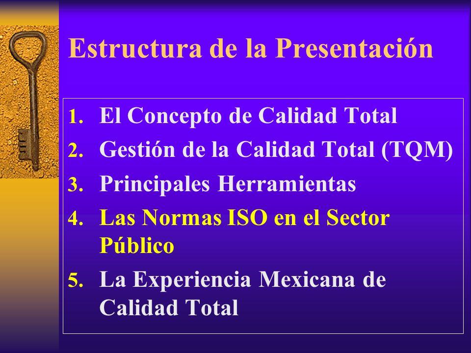 Estructura de la Presentación 1. El Concepto de Calidad Total 2. Gestión de la Calidad Total (TQM) 3. Principales Herramientas 4. Las Normas ISO en el