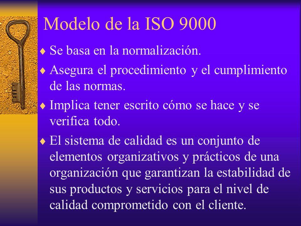 Modelo de la ISO 9000 Se basa en la normalización. Asegura el procedimiento y el cumplimiento de las normas. Implica tener escrito cómo se hace y se v