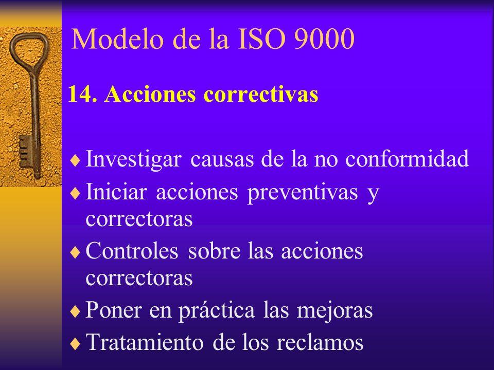 Modelo de la ISO 9000 14. Acciones correctivas Investigar causas de la no conformidad Iniciar acciones preventivas y correctoras Controles sobre las a