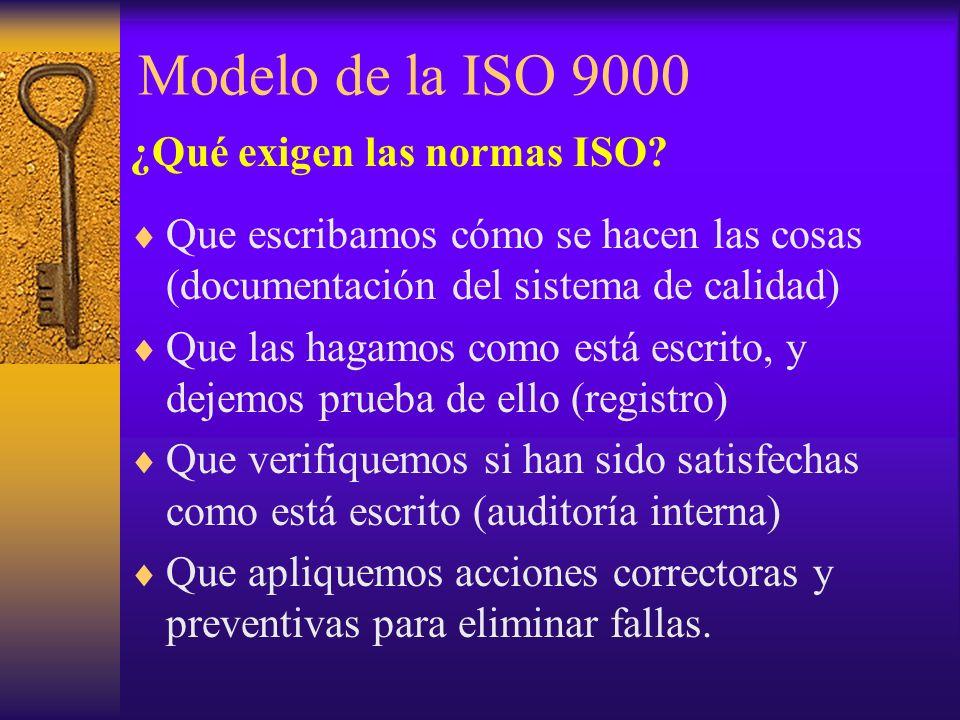Modelo de la ISO 9000 ¿Qué exigen las normas ISO? Que escribamos cómo se hacen las cosas (documentación del sistema de calidad) Que las hagamos como e