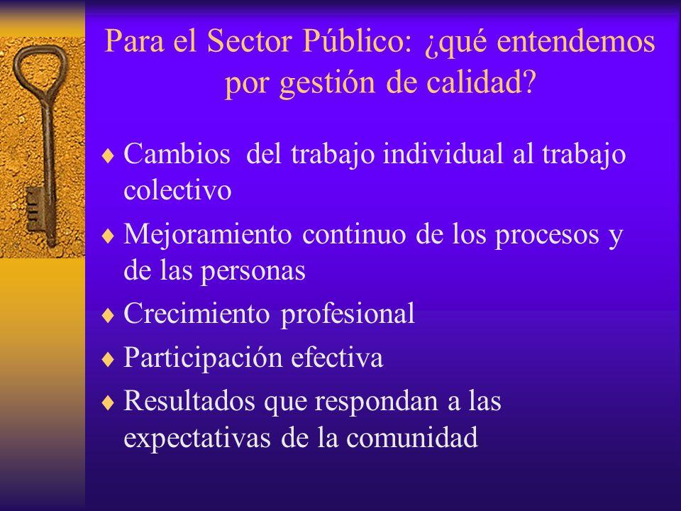 Para el Sector Público: ¿qué entendemos por gestión de calidad? Cambios del trabajo individual al trabajo colectivo Mejoramiento continuo de los proce