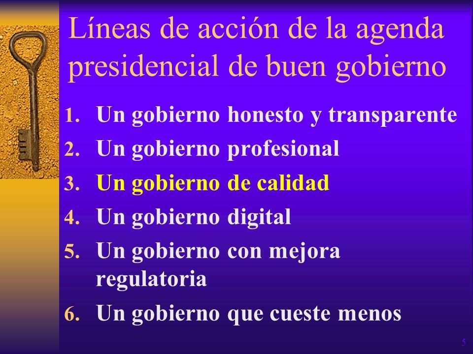 Líneas de acción de la agenda presidencial de buen gobierno 1. Un gobierno honesto y transparente 2. Un gobierno profesional 3. Un gobierno de calidad