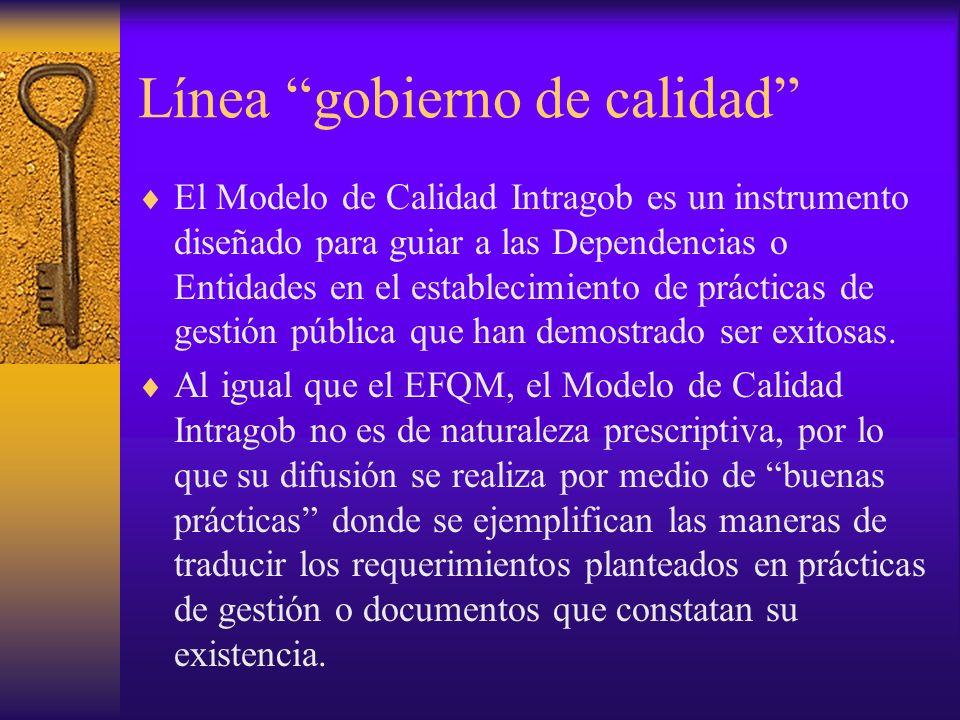 Línea gobierno de calidad El Modelo de Calidad Intragob es un instrumento diseñado para guiar a las Dependencias o Entidades en el establecimiento de