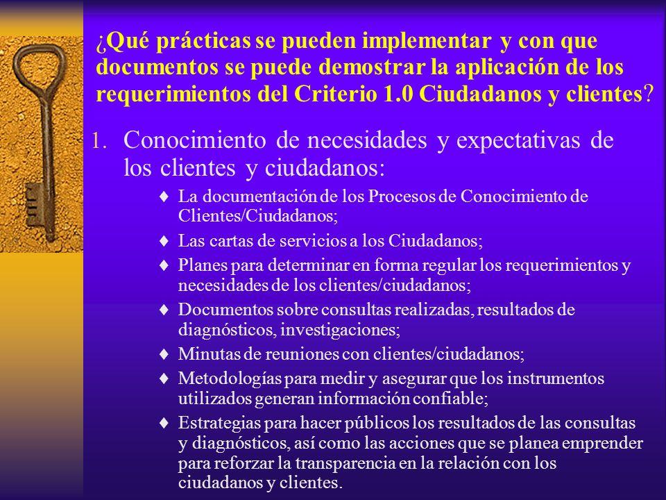 1. Conocimiento de necesidades y expectativas de los clientes y ciudadanos: La documentación de los Procesos de Conocimiento de Clientes/Ciudadanos; L