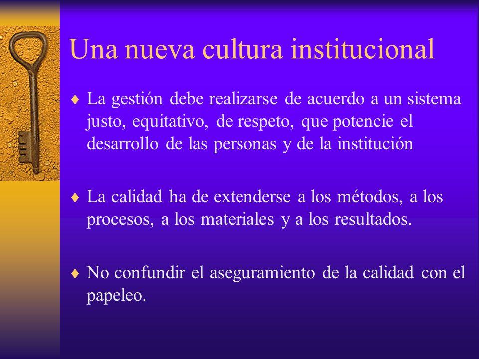 Una nueva cultura institucional La gestión debe realizarse de acuerdo a un sistema justo, equitativo, de respeto, que potencie el desarrollo de las pe