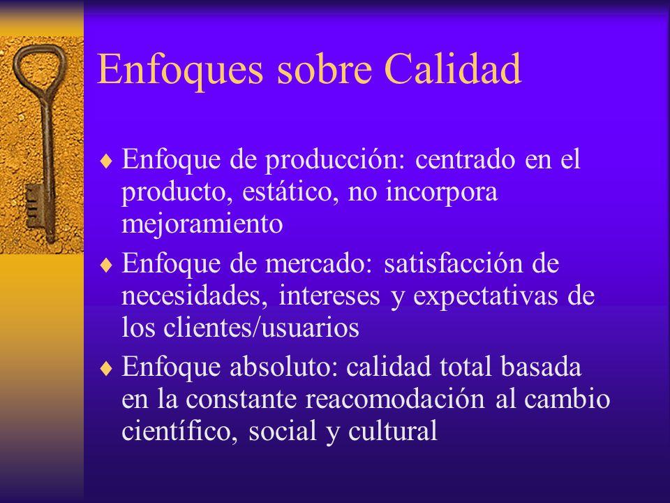 Enfoques sobre Calidad Enfoque de producción: centrado en el producto, estático, no incorpora mejoramiento Enfoque de mercado: satisfacción de necesid