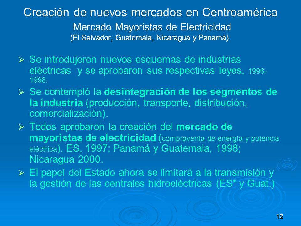 12 Creación de nuevos mercados en Centroamérica Mercado Mayoristas de Electricidad (El Salvador, Guatemala, Nicaragua y Panamá). Se introdujeron nuevo