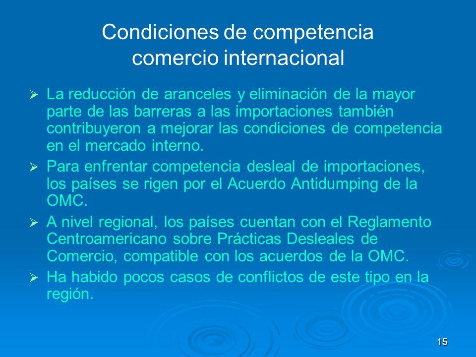 15 Condiciones de competencia comercio internacional La reducción de aranceles y eliminación de la mayor parte de las barreras a las importaciones tam